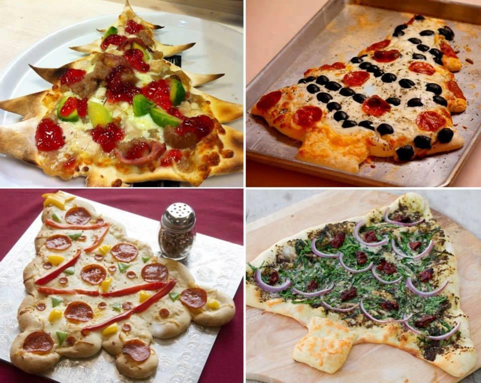 Albero di natale con impasto per pizza