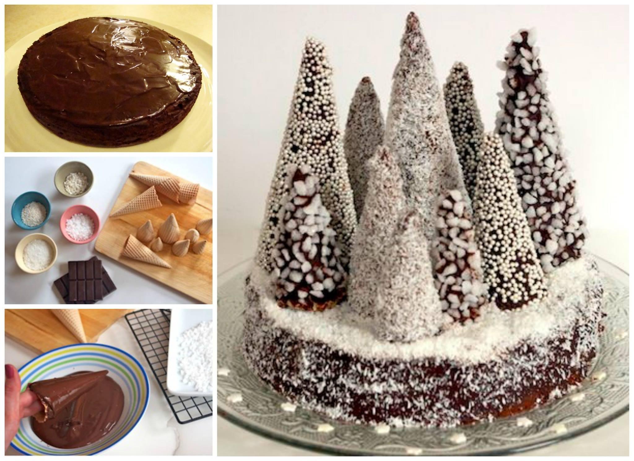Come fare torta natalizia al cioccolato spettegolando - Decorazioni torte natalizie ...