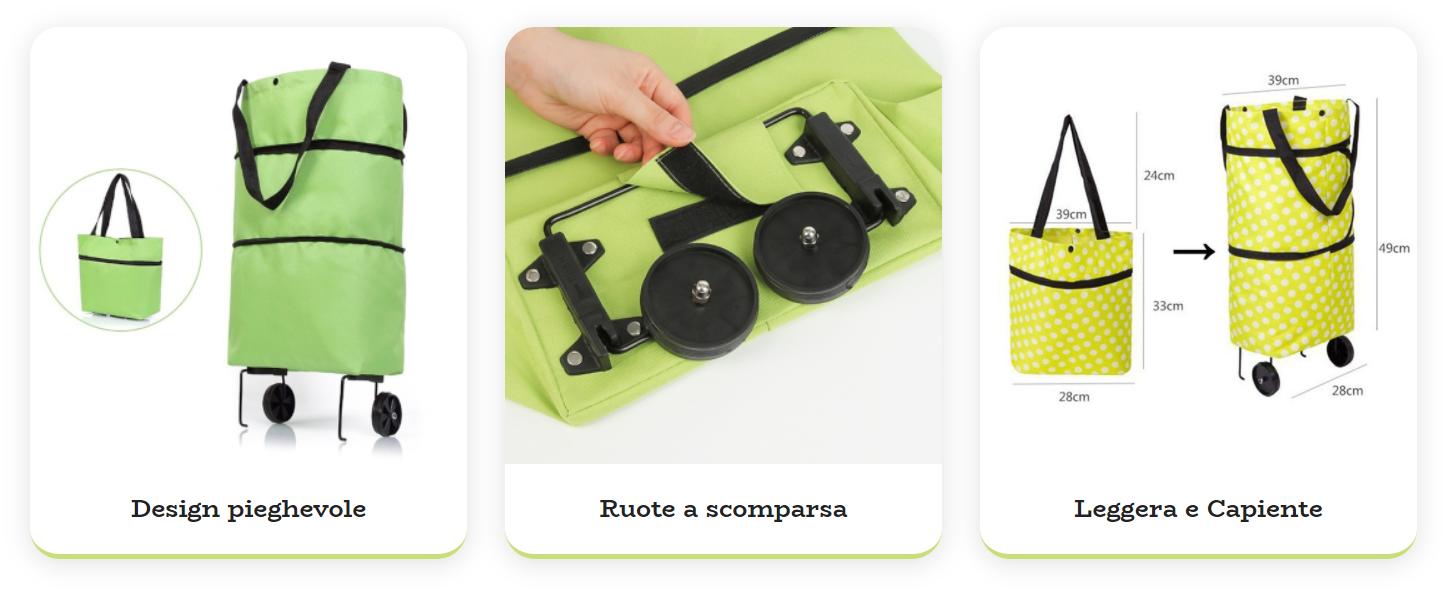 Shoppy Free: Carrello per la spesa pieghevole e richiudibile con ruote, funziona davvero? Caratteristiche, opinioni e dove comrparlo